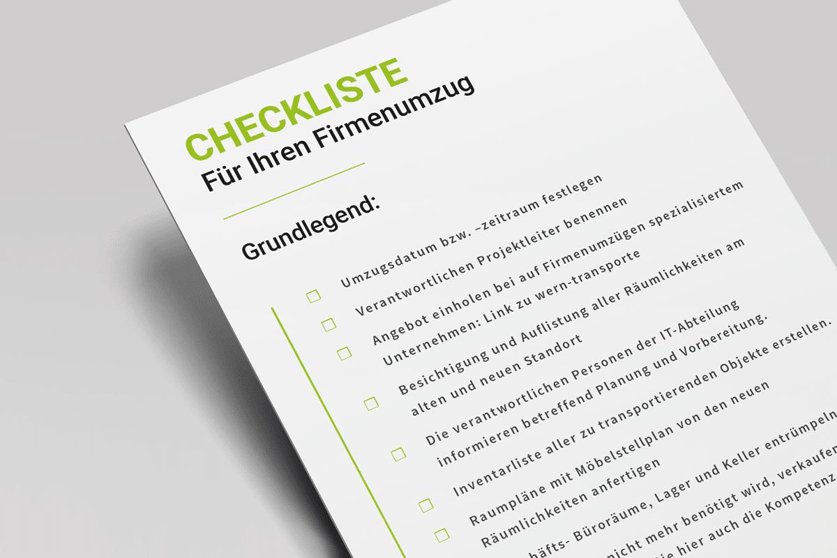 Checkliste für Firmenumzug von Wern-Transporte St. Wendel